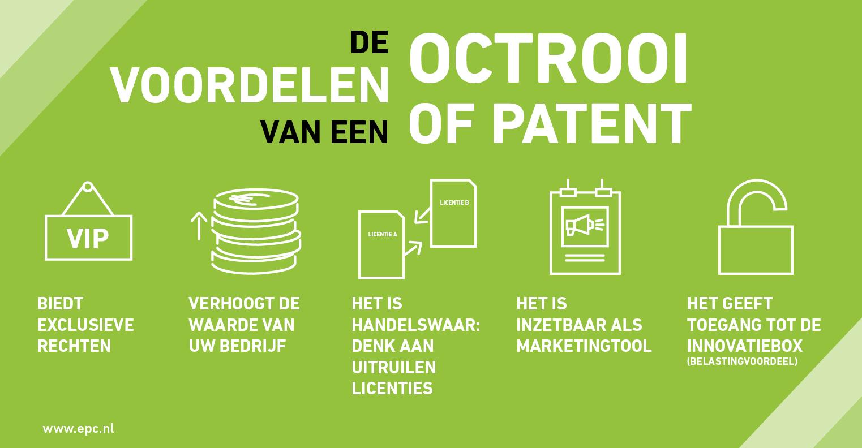 Infographic over de voordelen van een patent of octrooi
